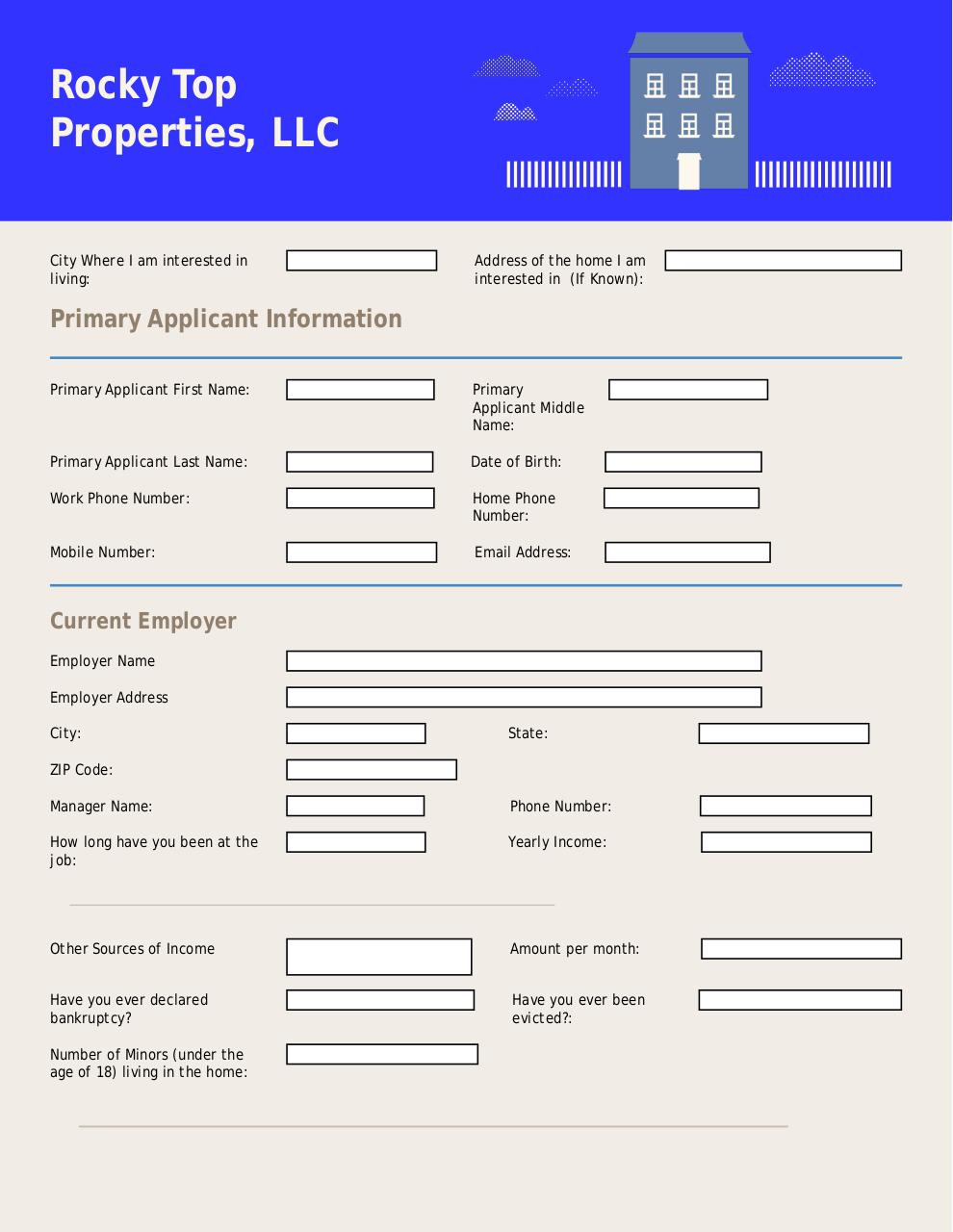 Document preview Rental Application 1.pdf - page 1/3