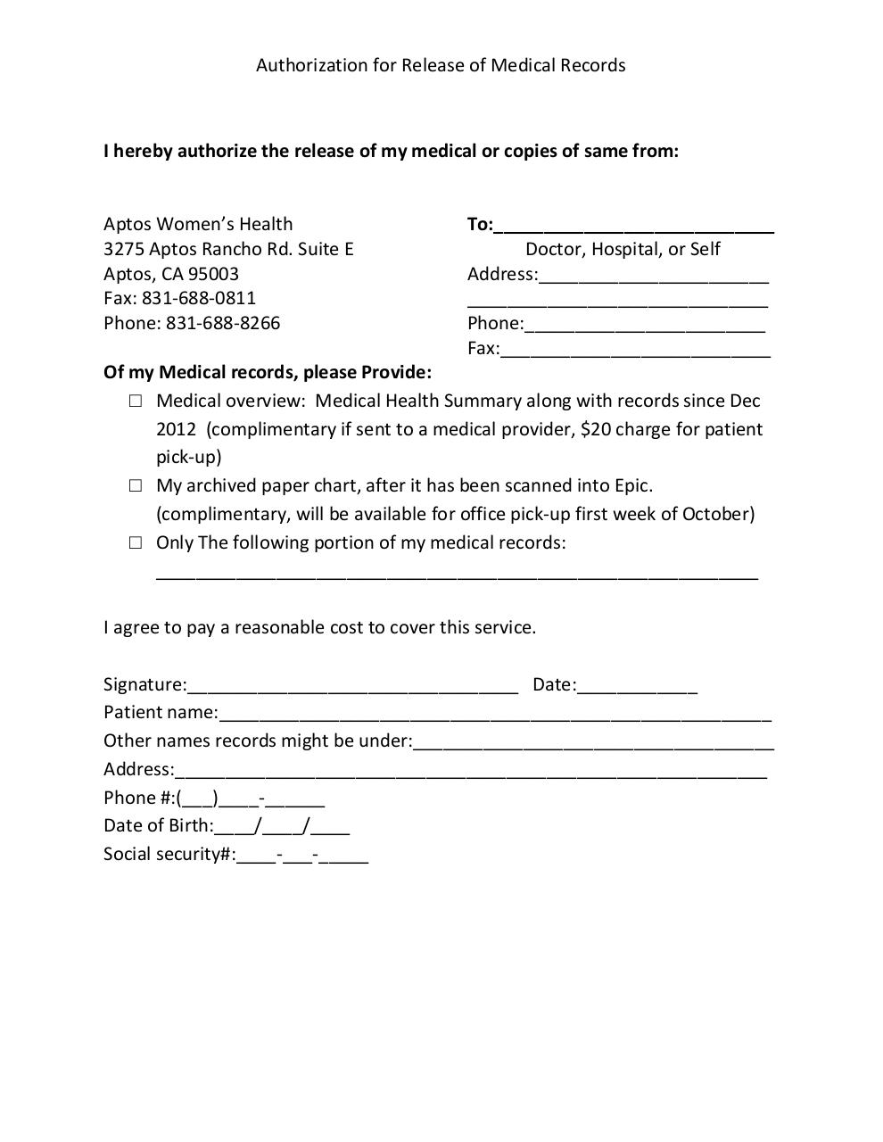 Document preview Authorization for release of Medical records.pdf - page 1/1