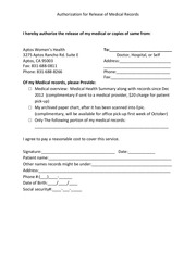 PDF Document authorization for release of medical records