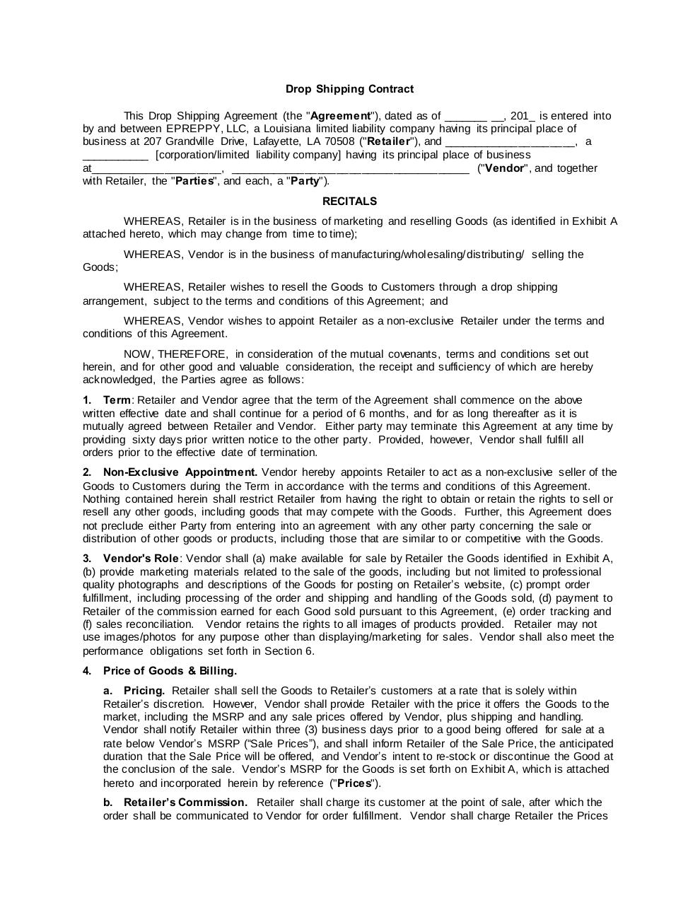 ePreppy Drop Shipping Agreement Template WORD copy.pdf - page 1/8