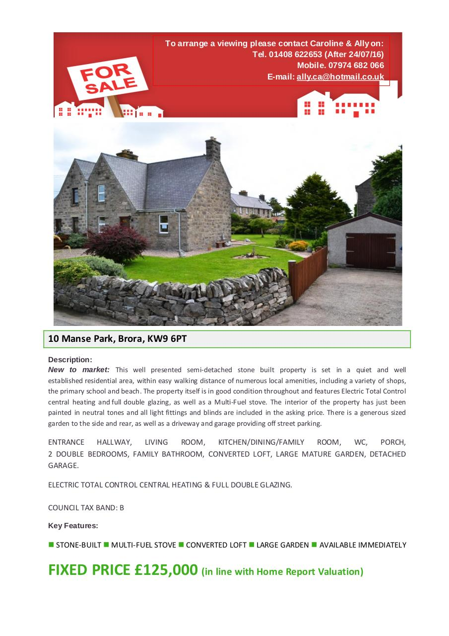 Document preview Schedule - 10 Manse Park, Brora, KW9 6PT.pdf - page 1/4