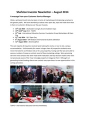 shafston investor newsletter august 2014
