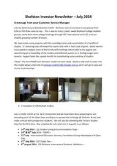 shafston investor newsletter july 2014