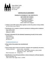 PDF Document certificate of conformity
