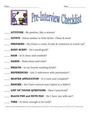 pre interview checklist