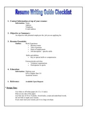 PDF Document resume writting guide checklist