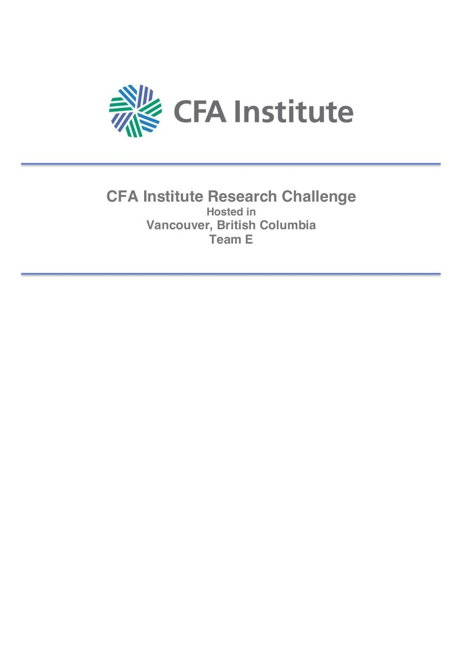 Avigilon Corporation_CFA Research Challenge_Team E (1).pdf - page 1/19