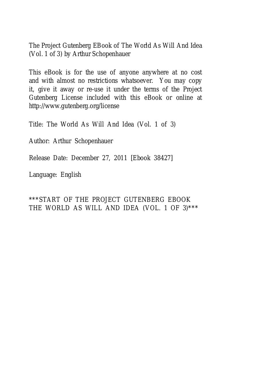 The World as Will and Idea Schopenhauer Book 1.pdf - page 1/115