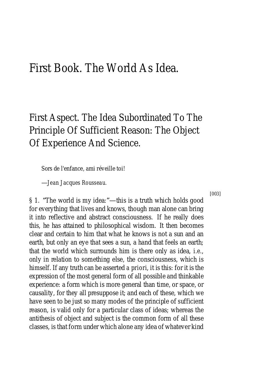 The World as Will and Idea Schopenhauer Book 1.pdf - page 3/115