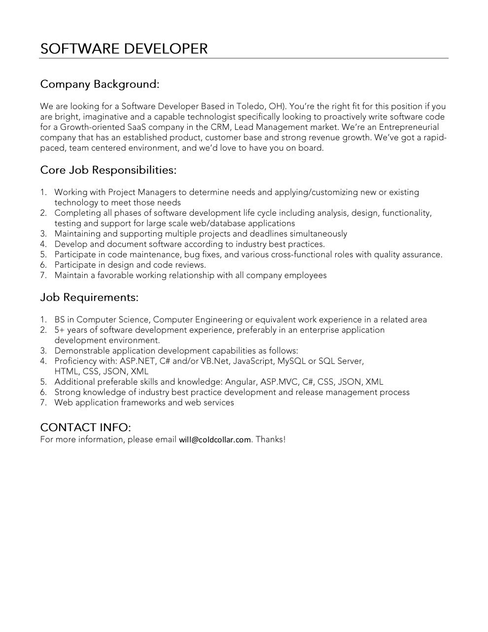 Amazing Document Preview Software Developer Job Description.pdf   Page 1/1