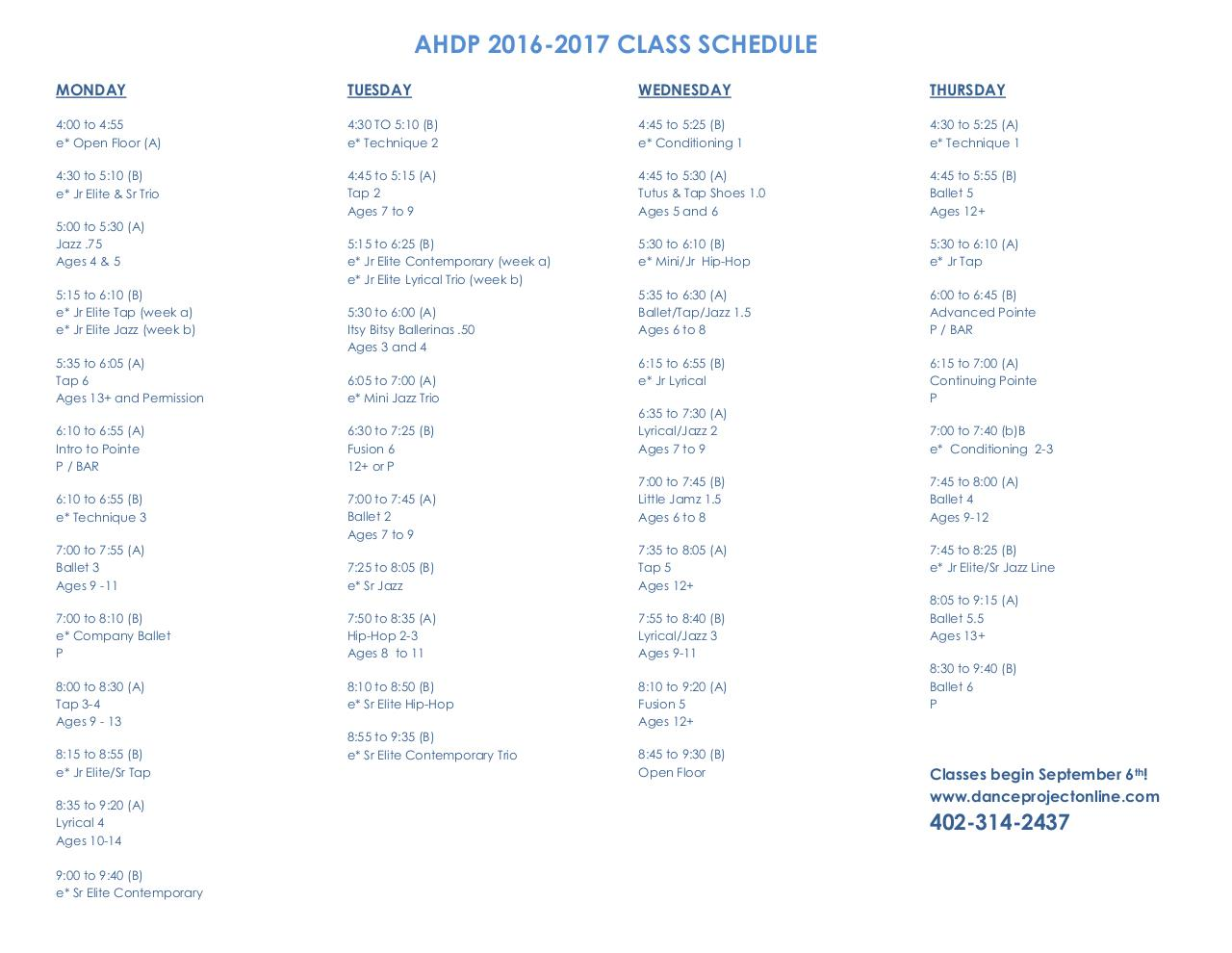 Document preview AHDP 2016 2017 Class Schedule.pdf - page 1/2