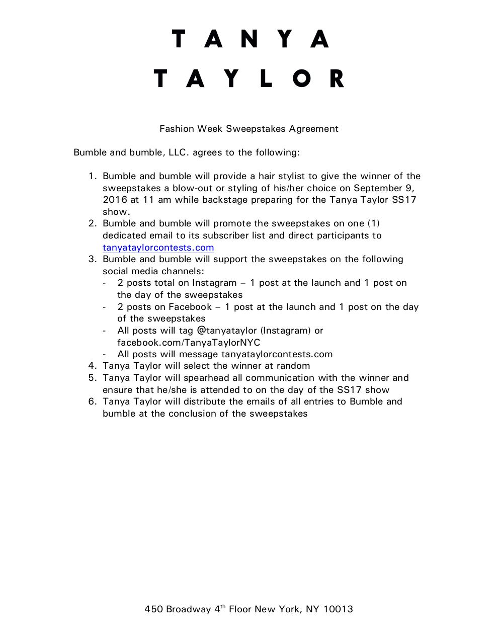 Tanya Taylor Fashion Week Sweepstakes Agreement TAR comments.pdf - page 1/6