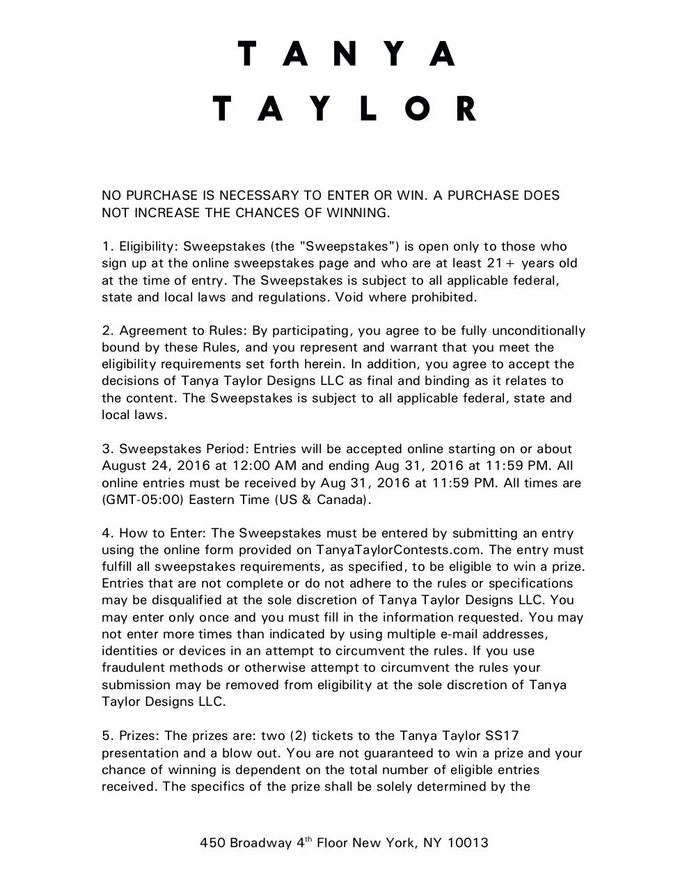 Tanya Taylor Fashion Week Sweepstakes Agreement TAR comments.pdf - page 2/6