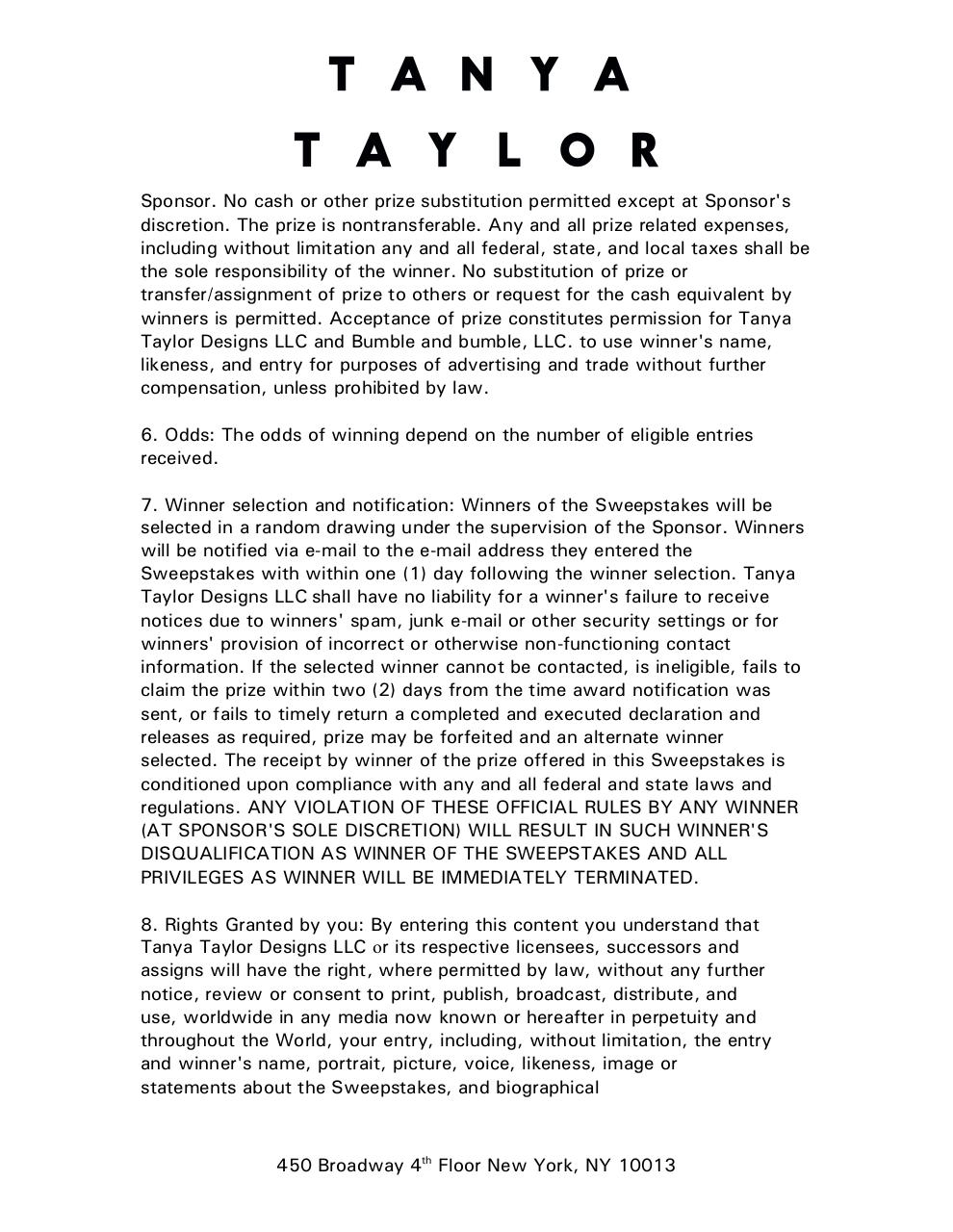 Tanya Taylor Fashion Week Sweepstakes Agreement TAR comments.pdf - page 3/6
