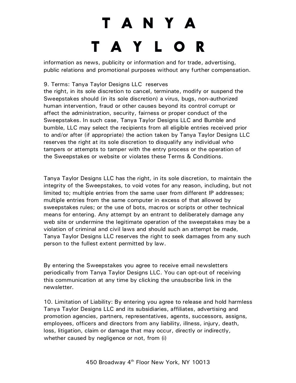 Tanya Taylor Fashion Week Sweepstakes Agreement TAR comments.pdf - page 4/6