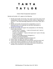 tanya taylor fashion week sweepstakes agreement tar comments