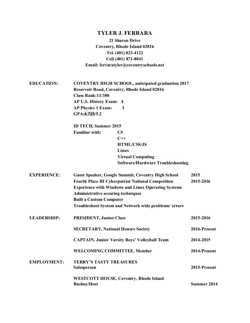 Document preview TYLER.RESUME.pdf - page 1/2