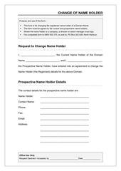 change of name holder