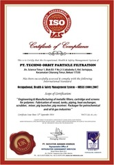 470 certificate of compliance 18k for pt top filtration
