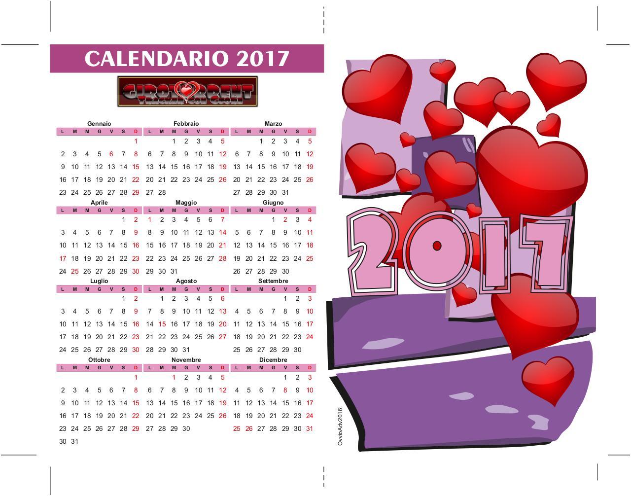 Mini Calendario.Mini Calendario 2017 Cdr By Sinapsi Mini Calendario Tavolo
