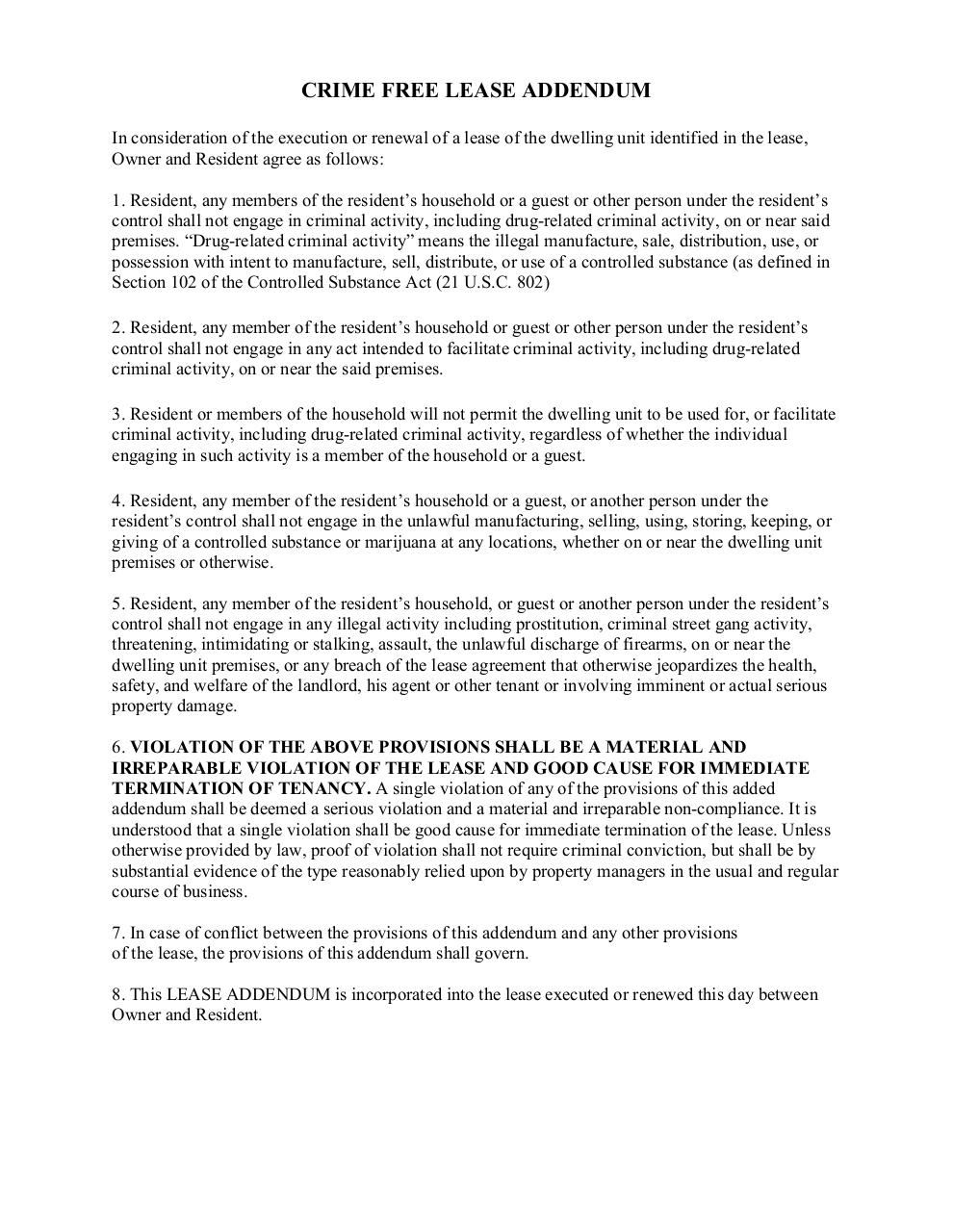 Document preview CRIME FREE LEASE ADDENDUM 2015 (1).pdf - page 1/2