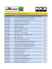 hks liste de prix