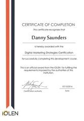 danny saunders digital marketing strategies certificate