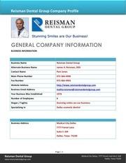 reisman dental group company bio