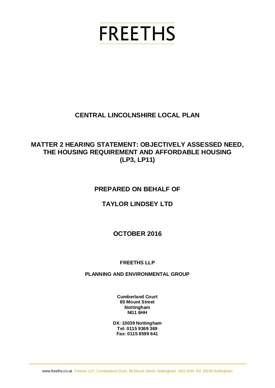Document preview CLLP Hearing Statement-Matter 2 OAHN,Housing Req & AH.pdf - page 1/4