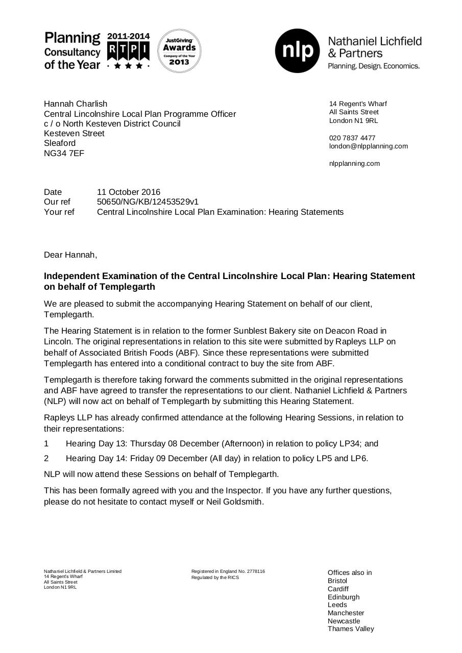 50650 Hearing Statement Cover Letter 07 10 2016 NLP.pdf - page 1/2