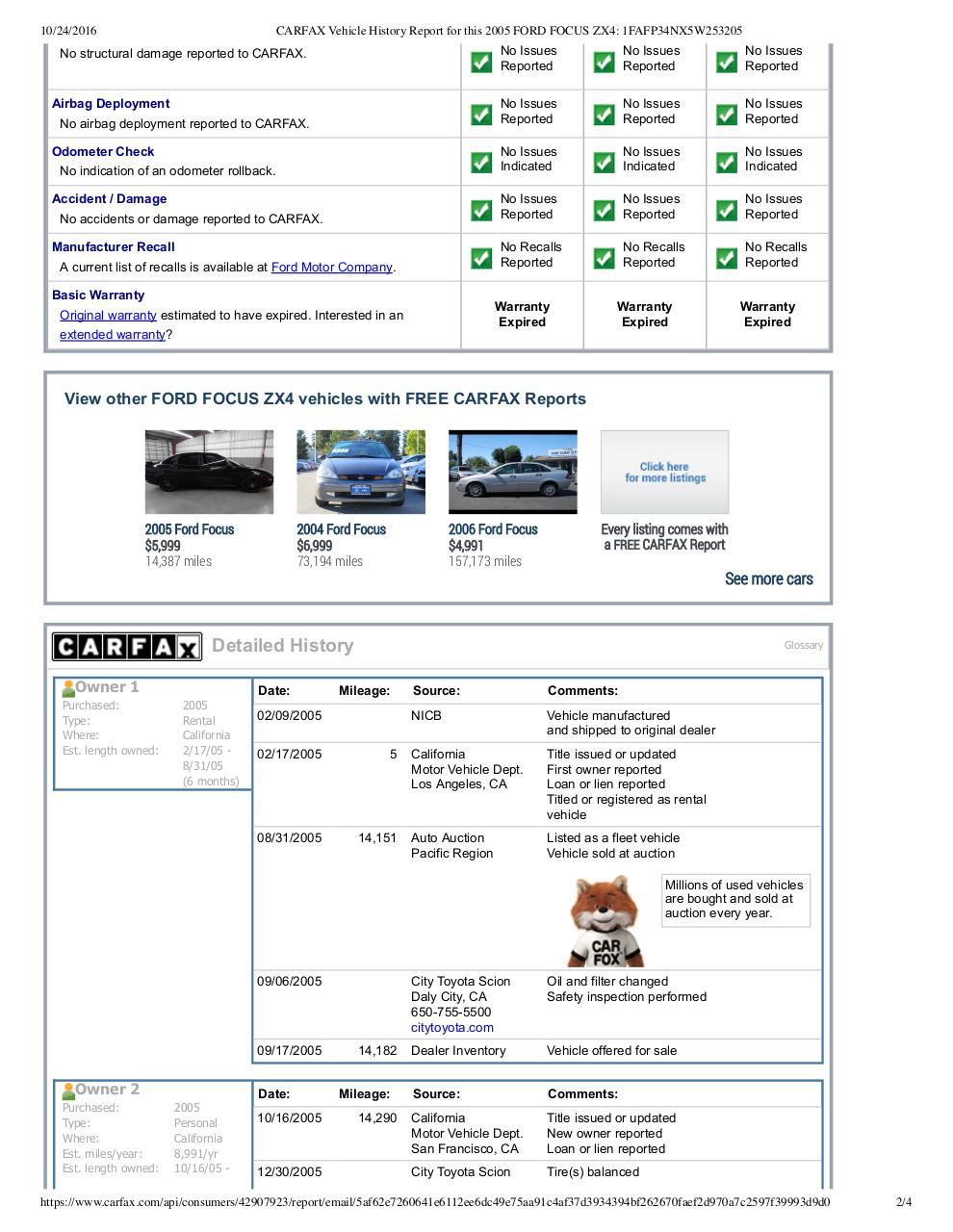 carfax_2005_ford_focus.pdf - page 2/4
