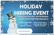 mailer holiday hiring event postcard