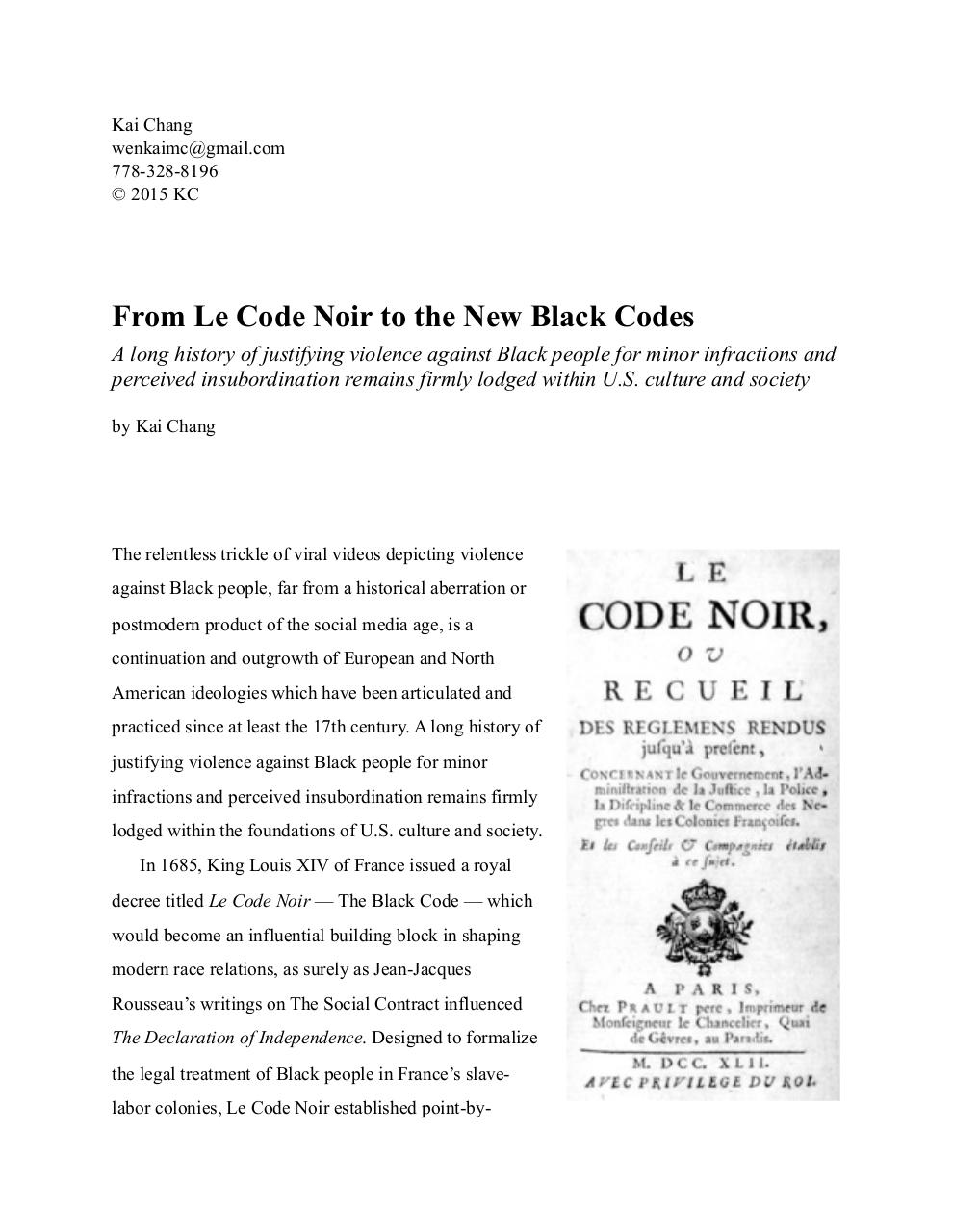 Kai Chang - From Le Code Noir to the New Black Codes.pdf - page 1/7