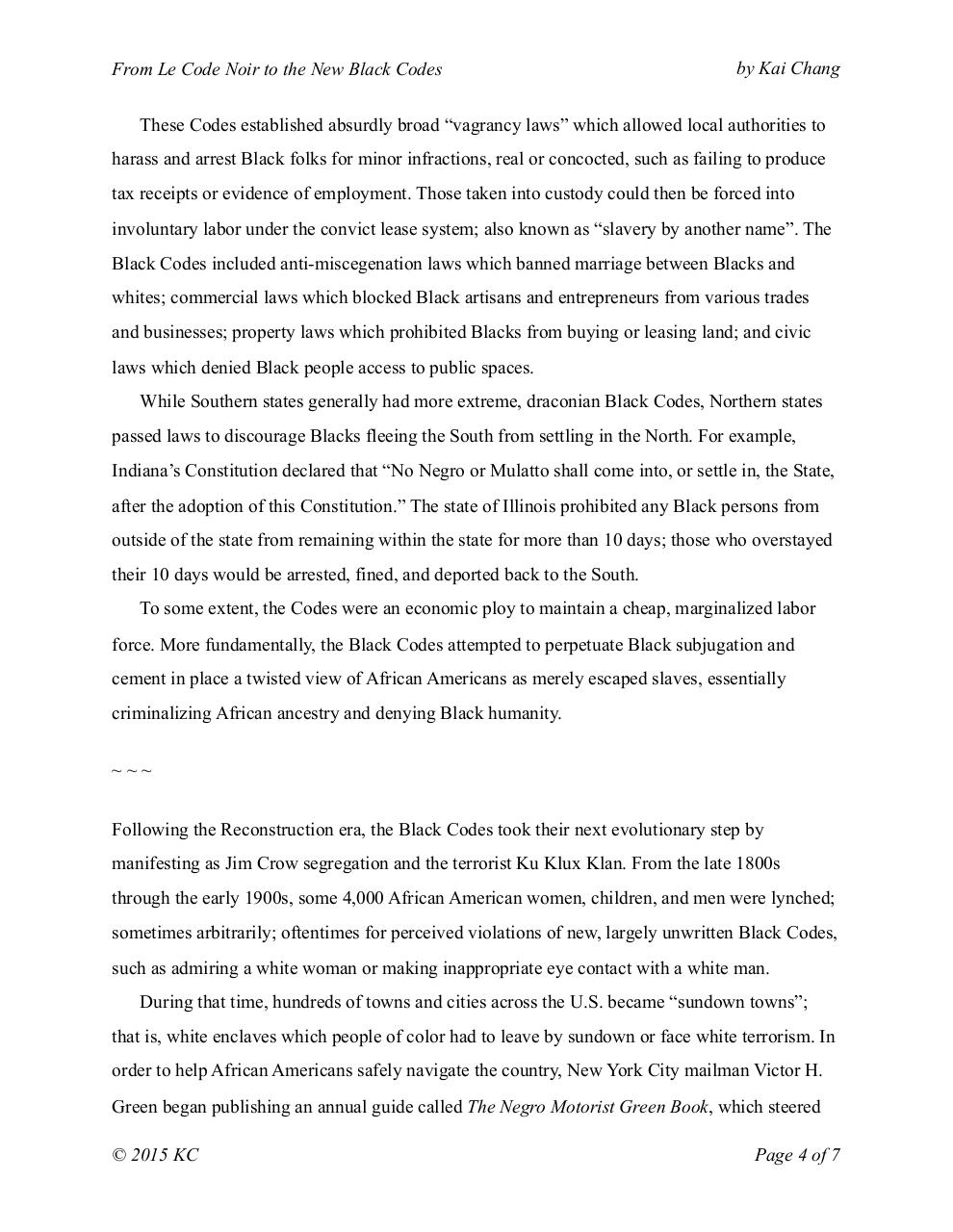 Kai Chang - From Le Code Noir to the New Black Codes.pdf - page 4/7