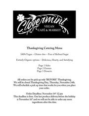clovermint vegan thanksgiving 2016 price sheet