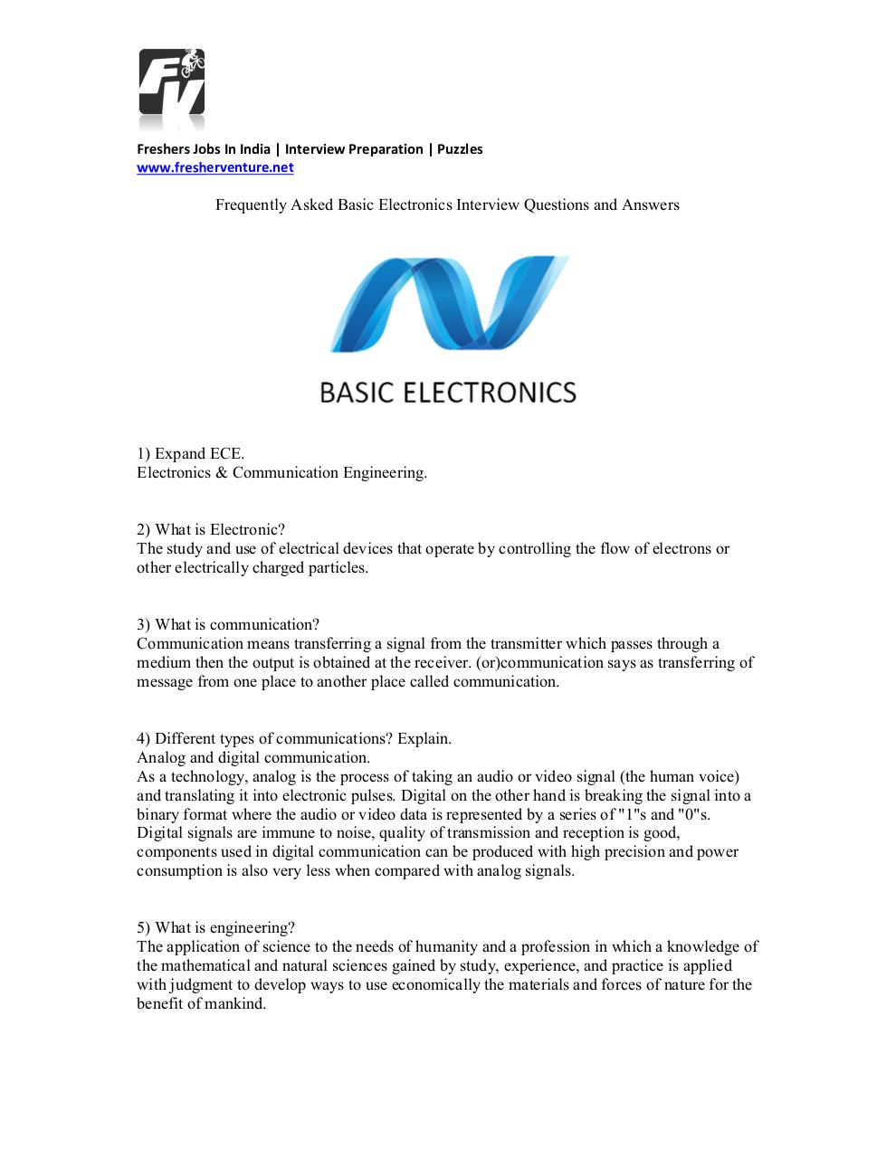 Basic electronic interview Questions and Answers by MANISH ...