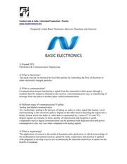 basic electronic interview questions and answers