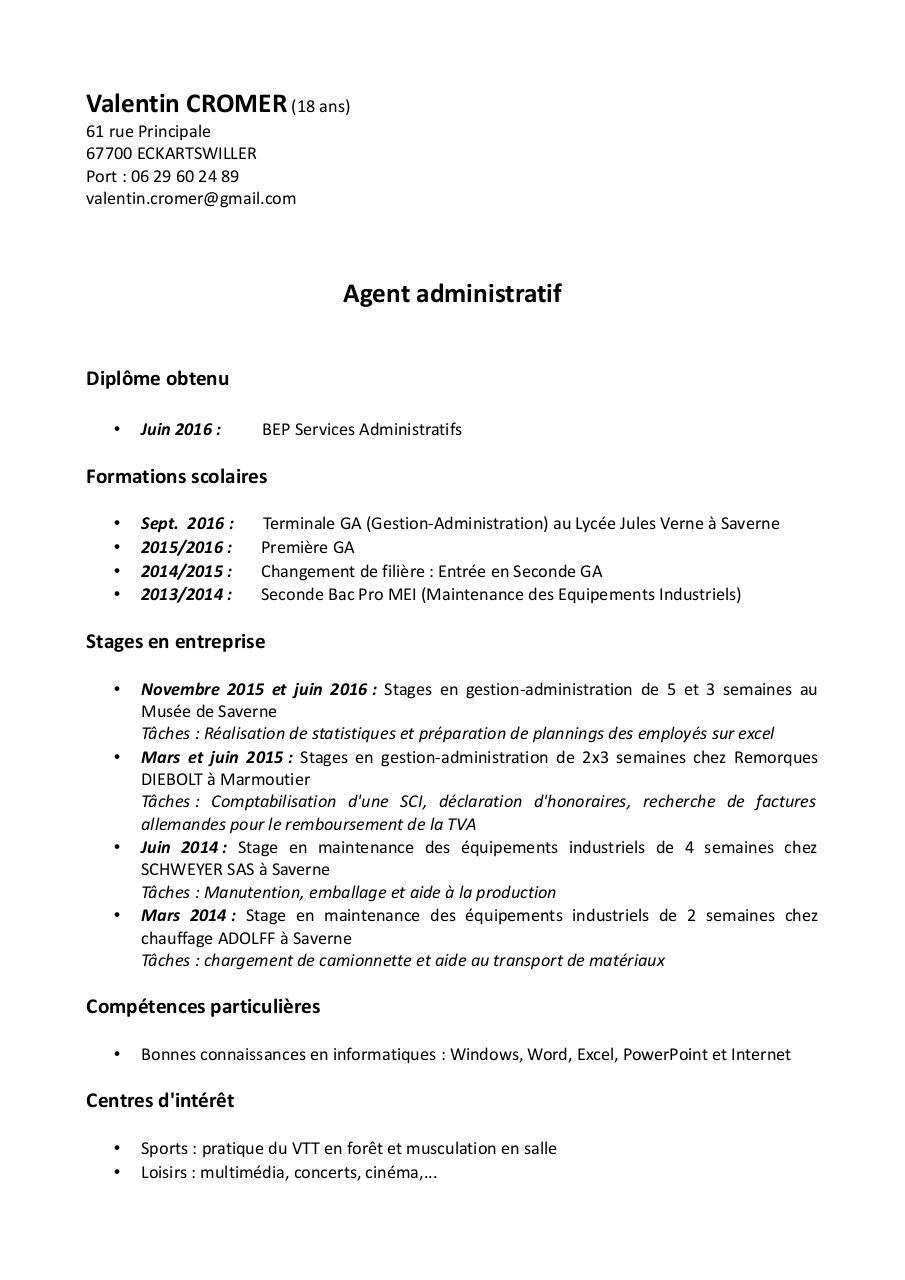 Cv Valentin Agent Administratif By Estelle Werle Pdf Archive