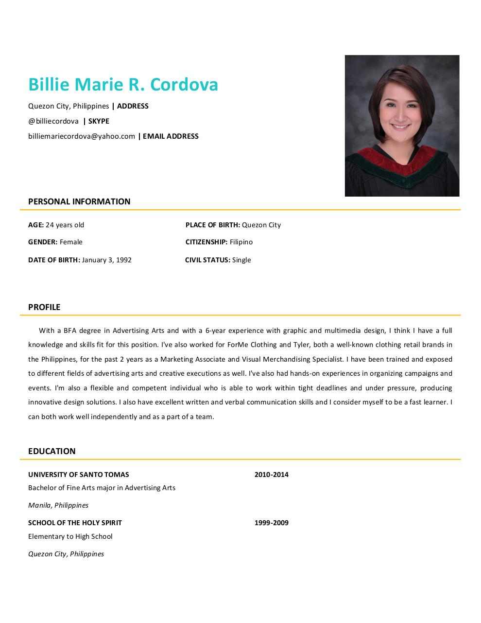 Document preview FINAL BILLIE MARIE CORDOVA RESUME (PDF).pdf - page 2/4