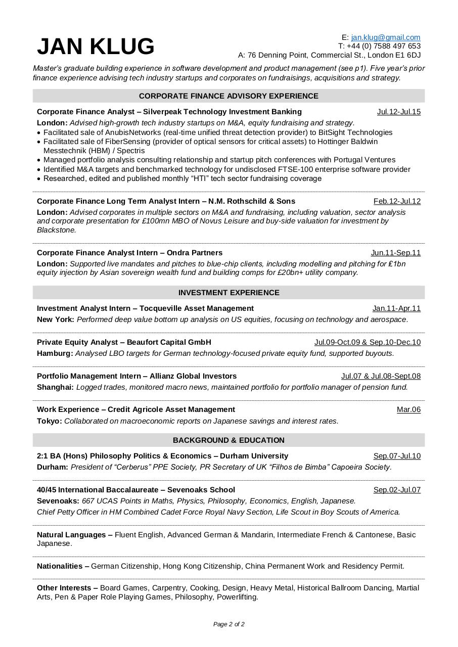 Jan KLUG Resume 2 pager by Jan Klug - PDF Archive