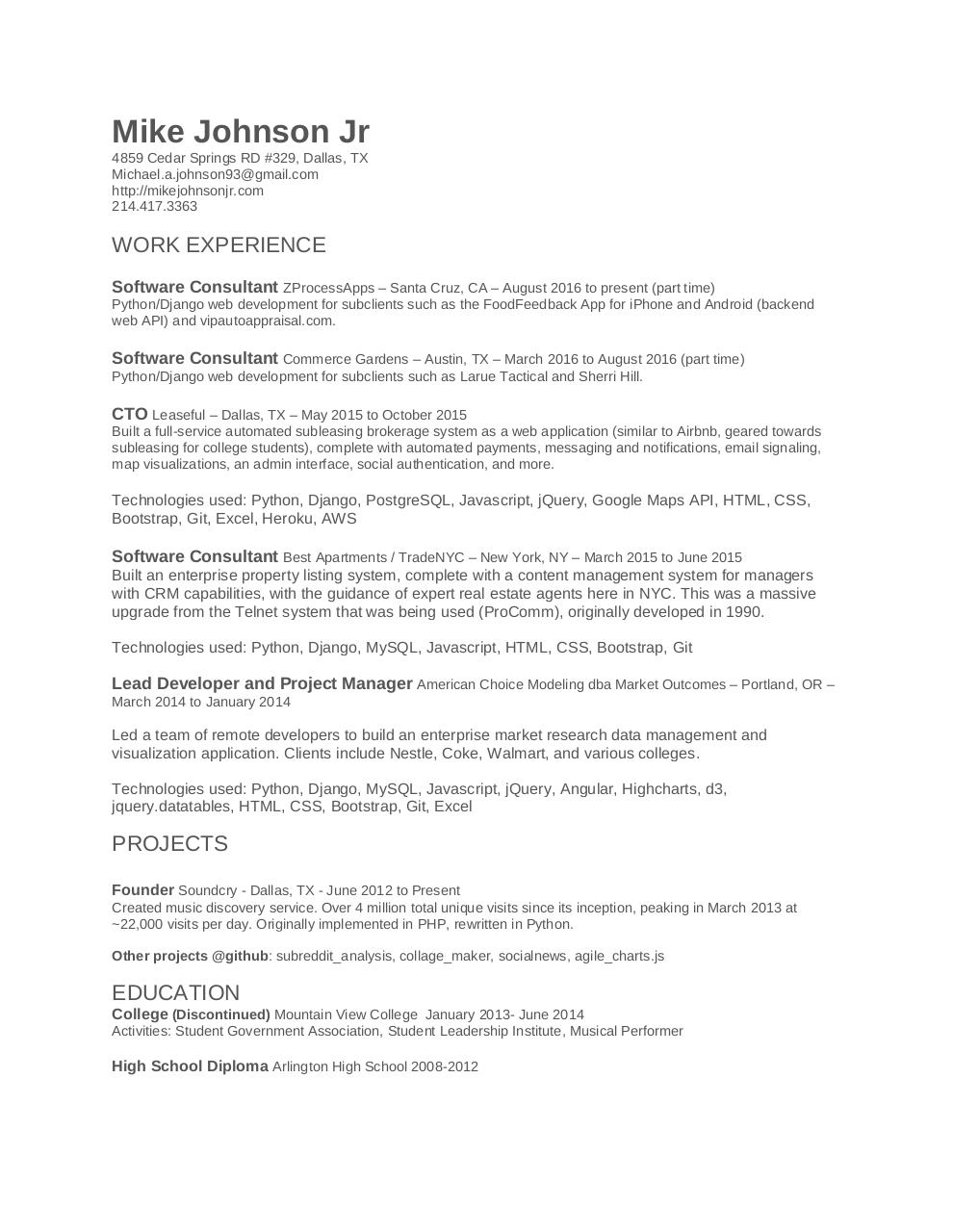 Document preview Mike-Johnson-Jr-Resume.pdf - page 1/1