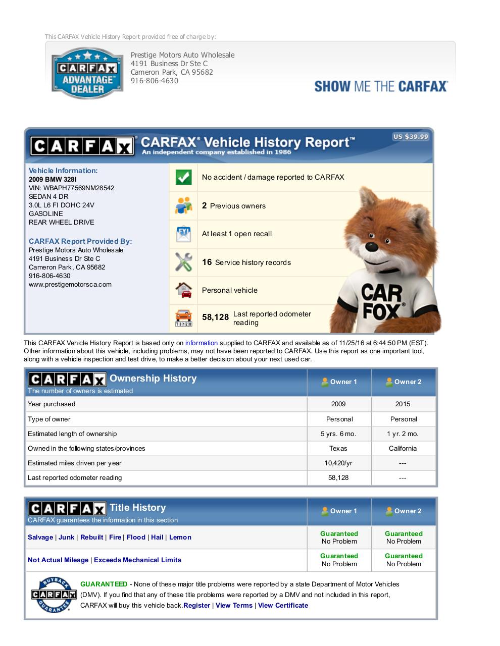 CARFAX Vehicle History Report_  WBAPH77569NM28542.pdf - page 1/6