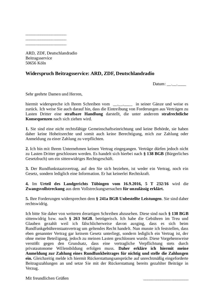 Formular Musterschreiben Gegen Beitragsservice Gez Pdf Archive