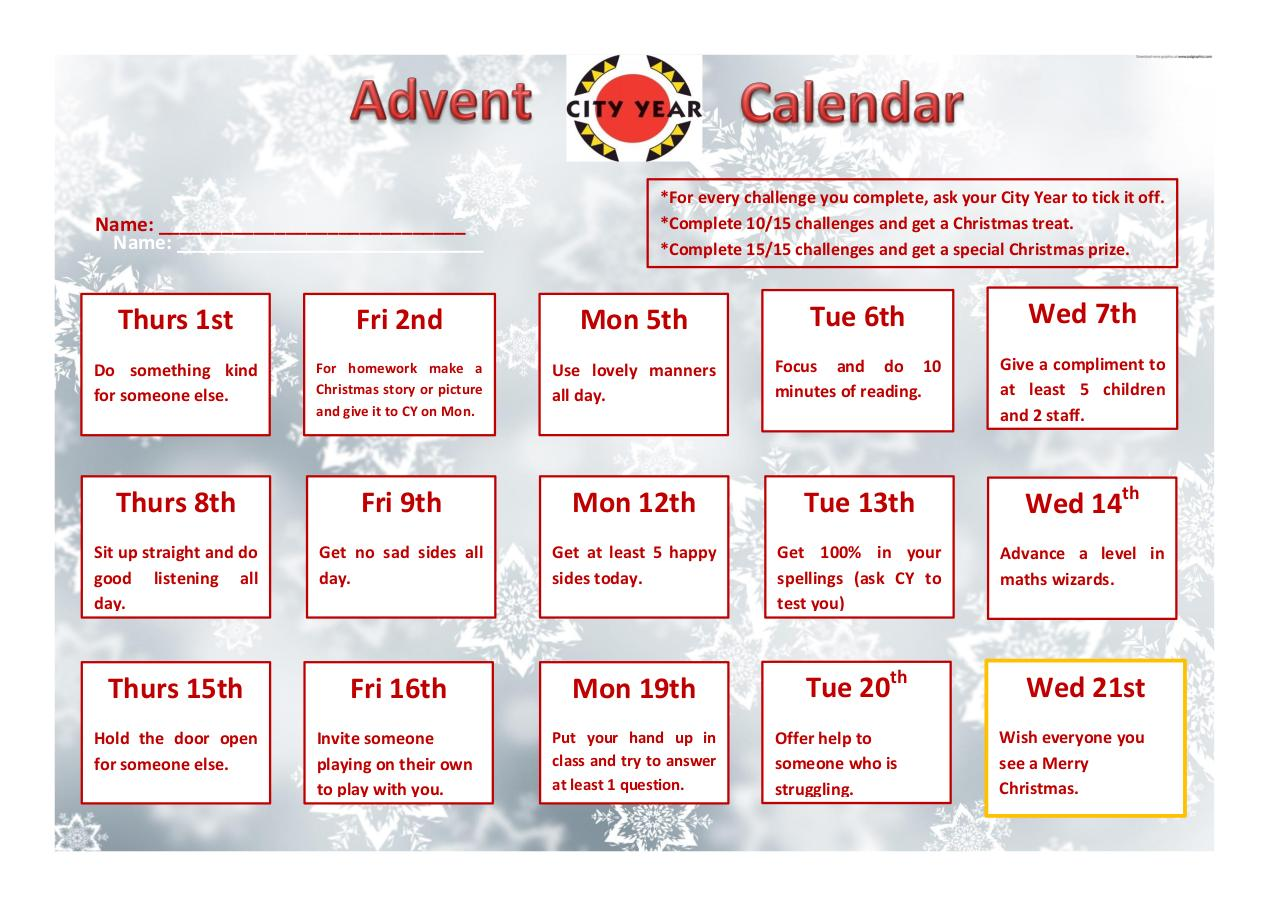 Document preview City Year UK advent calendar.pdf - page 1/1