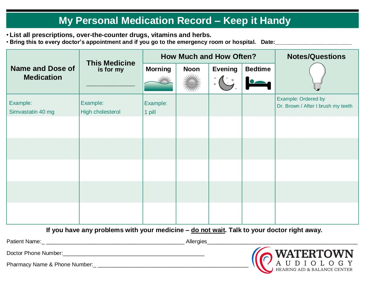 Document preview Medication Record.pdf - page 1/2