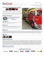 gk34 1976 american lafrance fire pumper govdeals