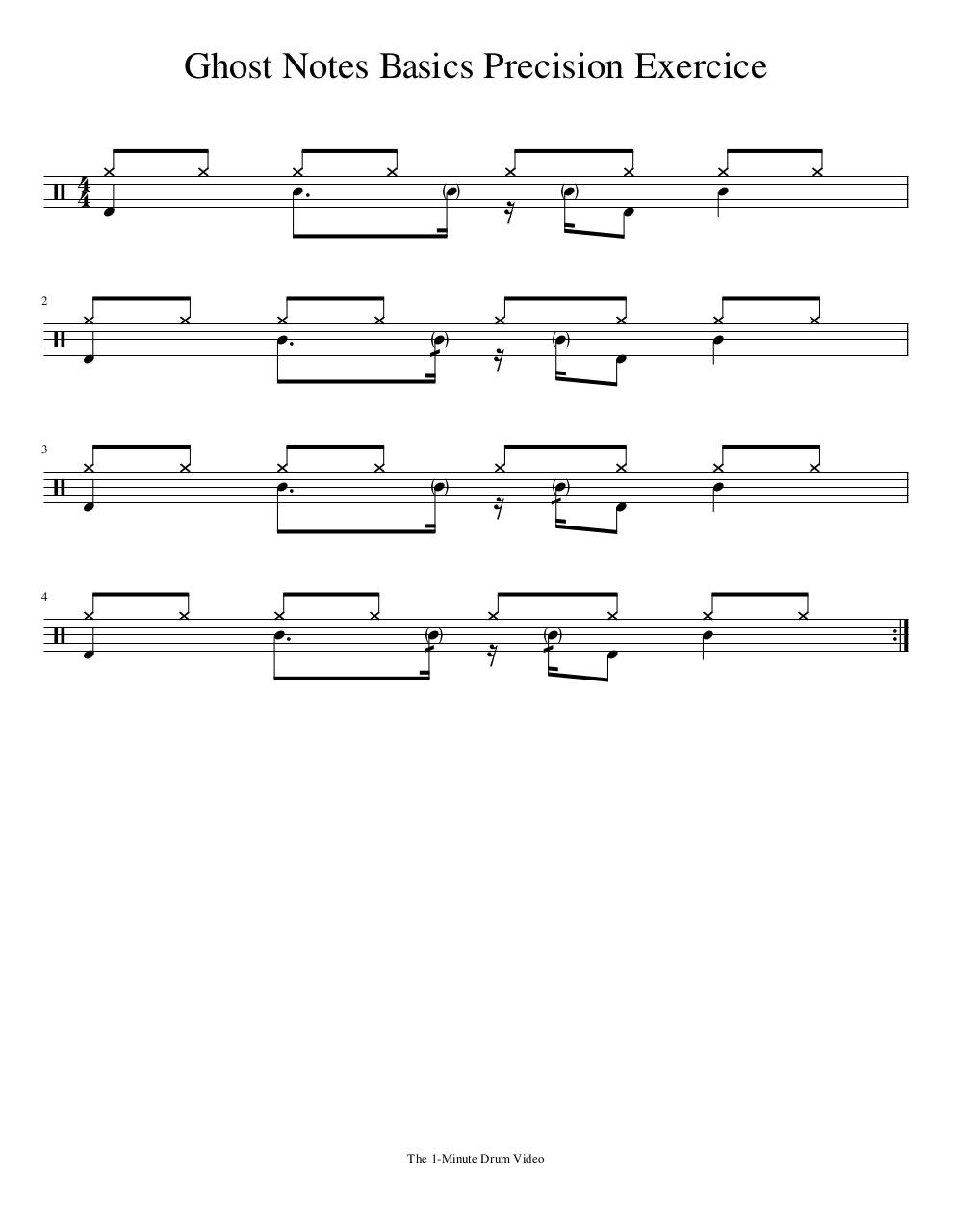 Document preview 1MDV - Ghost Notes Basics Precision Exercice.pdf - page 1/1