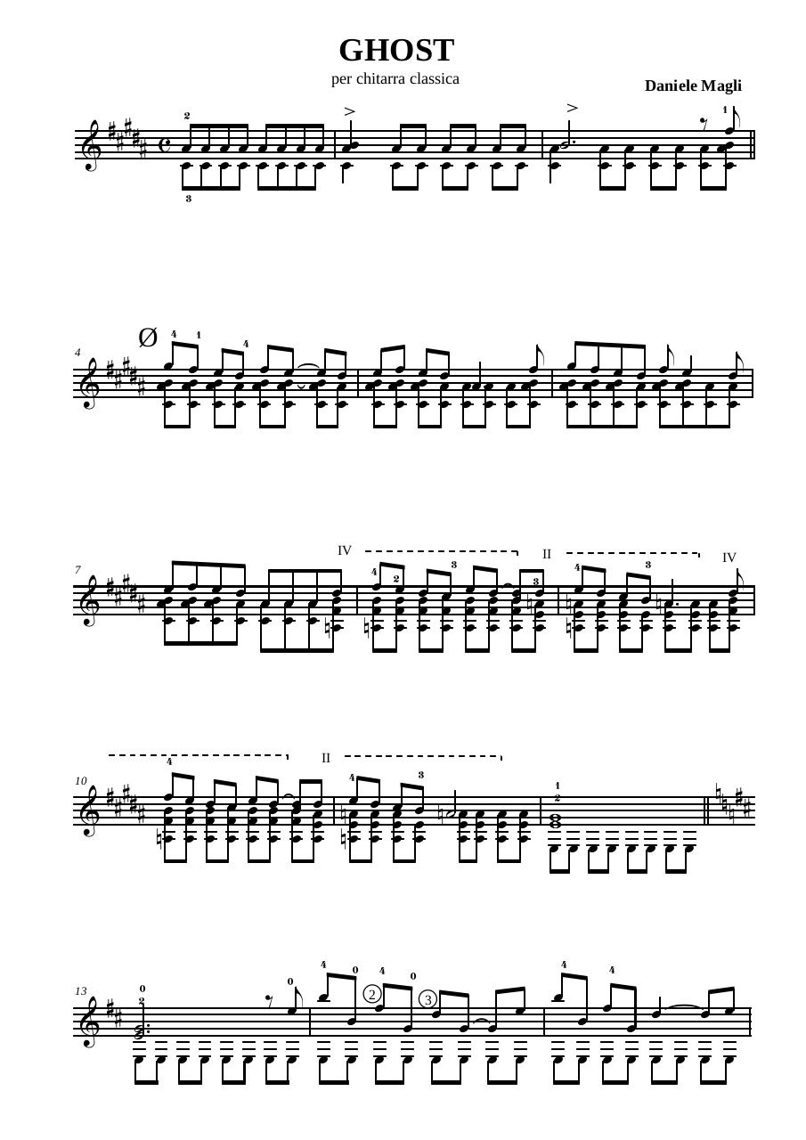 Preview of PDF document ghost-by-daniele-magli-guitar.pdf - Page 1/2