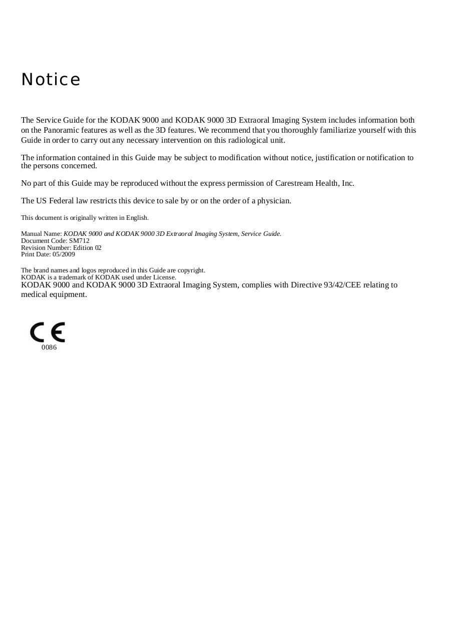 sm712 k9000 3d serv book by 10106120 kodak 9000 9000 3d service rh pdf archive com Kodak 3D Imaging CS-9000 3D
