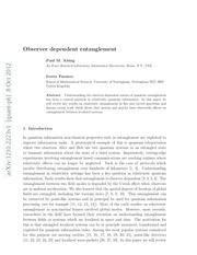 observer dependent entanglement